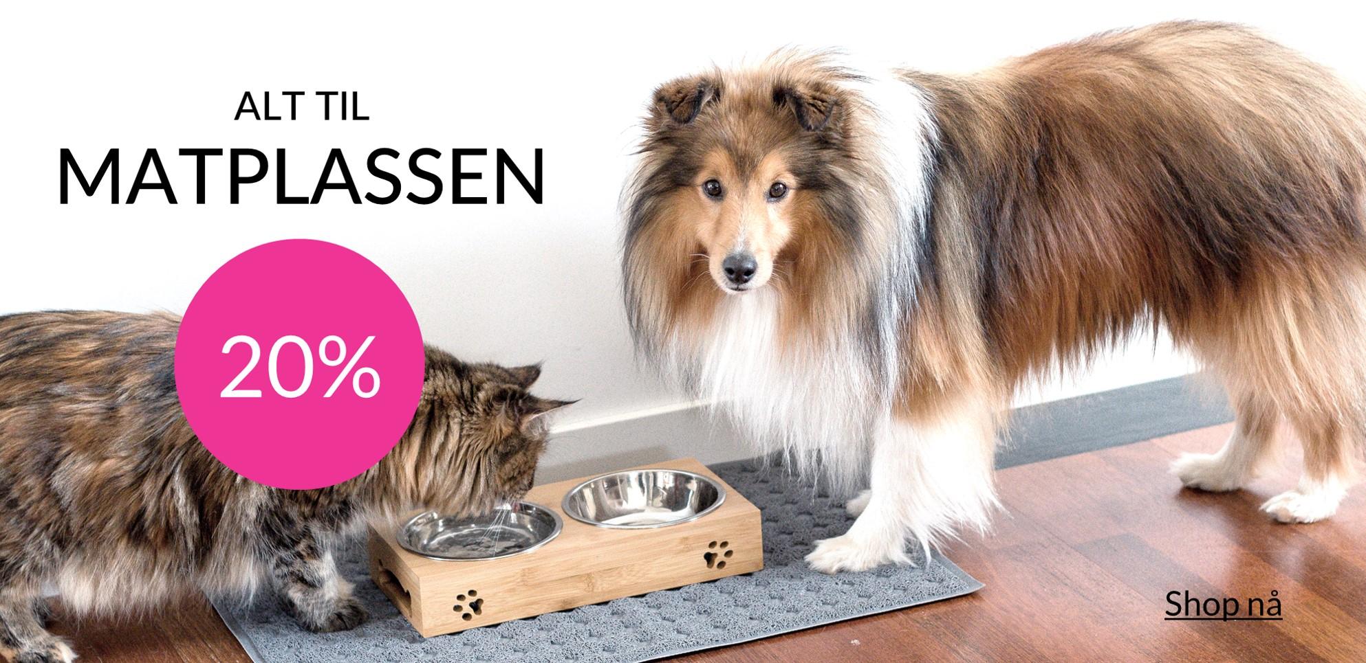 Hundeskåler og katteskåler og alt til matplassen på tilbud